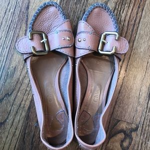 Chloe Leather Flats with Gold Buckle